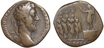 Ancient Coins - Commodus AE sestertius – Commodus haranguing troops – Rare
