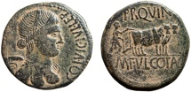 Ancient Coins - Spain. Celsa: AE As; pseudo-autonomous coinage – Nike/Colonist plowing pomerium