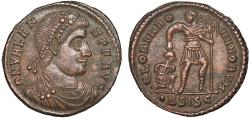 Ancient Coins - Valens AE3 – Emperor with captive – EF