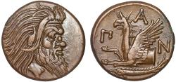 Ancient Coins - Cimmerian Bosporos. Pantikapaion: AE21 – Pan (or satyr?)/Griffin – Well-centered; virtually corrosion free