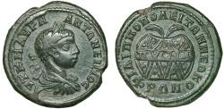 Ancient Coins - Elagabalus AE triassarion; Philippopolis. Thrace – Prize crown