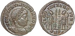 Ancient Coins - Constantine II as Caesar AE follis – Two soldiers – EF