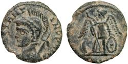 """Ancient Coins - """"Barbarous"""" AE imitation of Constantinopolis commemorative Roman Imperial follis – Helmeted bust/Victory"""