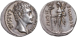 Ancient Coins - Augustus AR denarius – Mars – Very well-preserved for type