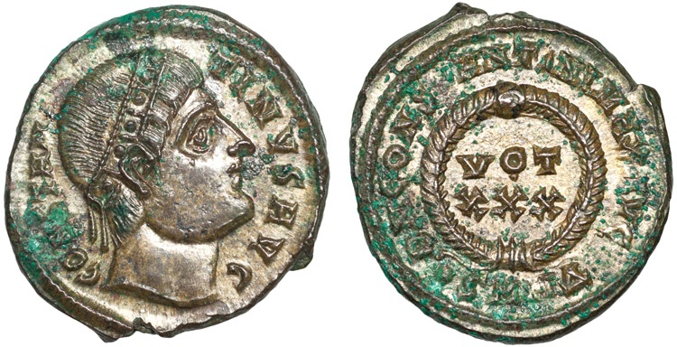 """Ancient Coins - Constantine I AE3 – Head with """"eyes to God""""/Votive in wreath"""