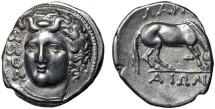 Ancient Coins - Thessaly, Larissa: AR drachm –  Nymph/Horse –  Excellent portrait