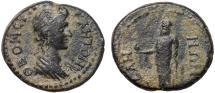 Ancient Coins - Lydia. Sala AE19 pseudo-autonomous coinage under Trajan – Senate/Zeus Lydios