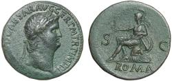 Ancient Coins - Nero AE sestertius – Roma holding Victory