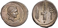Ancient Coins - C. Norbanus AR denarius – Venus/Grain ear; fasces; caduceus – EF; broad flan and attractive toning