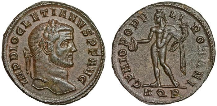 Ancient Coins - Diocletian AE follis – Genius – EF, attractive patina