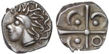 Ancient Coins - Gaulic Celts: Volcae Tectosages (Tolosates branch) AR drachm – Stylized head/Cross with ornaments – Unusually complete devices for type; large flan