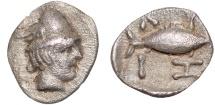 Ancient Coins - Mysia. Kyzikos AR tetartemorion – Hermes/Tunny – Rare