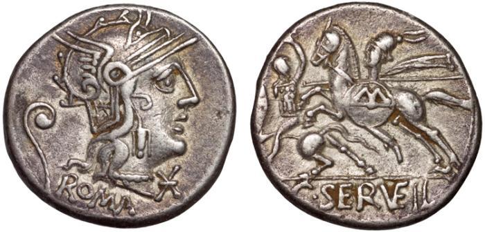 Ancient Coins - C. Servilius Vatia AR denarius – Horsemen battling