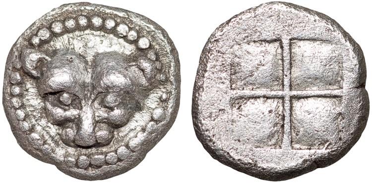 Ancient Coins - Chalcidian District. Acanthus: AR obol – Lioness/Incuse