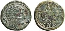 Ancient Coins - Spain, Secaisa: AE As – Male head/Lancer