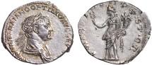 Ancient Coins - Trajan AR denarius – Felicitas – EF, attractive golden toning