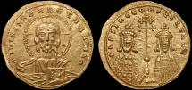 Ancient Coins - Basil II Bulgaroktonos with Constantine VIII AV histamenon nomisma – Christ Pantokrator/Basil and Constantine – EF; good portrait of Christ