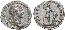 Ancient Coins - Trajan AR denarius – Mars and captive with shield – Rare