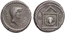 Ancient Coins - Mark Antony AR denarius – Head of Sol in temple