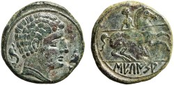 Ancient Coins - Spain, Secaisa: AE As – Male head/Lancer