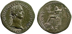 Ancient Coins - Domitian AE sestertius – Jupiter – Beautiful reverse style; attractive olive patina