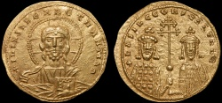 Ancient Coins - Basil II Bulgaroktonos with Constantine VIII AV histamenon nomisma – Christ Pantokrator/Basil and Constantine – EF; good portrait of Christ