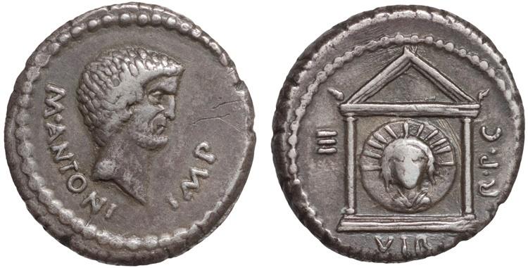 Ancient Coins - Mark Antony AR denarius – Head of Sol in temple