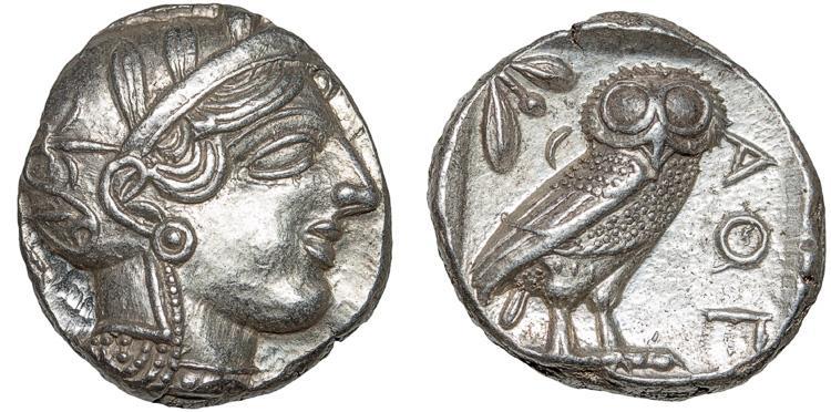 Ancient Coins - Attica, Athens: AR tetradrachm – Athena/Owl – EF