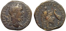 Ancient Coins - Septimius Severus AE sestertius – Annona, Cupid, and prow – Rare
