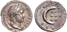 Ancient Coins - Hadrian AR denarius – Crescent and seven stars – Great portrait; very attractive toning