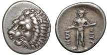 Ancient Coins - Thessaly. Oitaioi (The Oetaei): AR hemidrachm – Lion's head/Heracles – Exceptionally well-preserved obverse