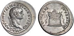 Ancient Coins - Domitian as Caesar under Titus AR denarius – Altar
