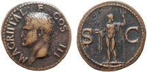 Ancient Coins - Agrippa AE As – Neptune – Shiny (varnished) with dark fields; very attractive in-hand
