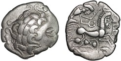 Ancient Coins - Gaulic Celts, Aulerci Diablintes: AR stater – Male head/Chariot with man-headed horse, trampeled warrior