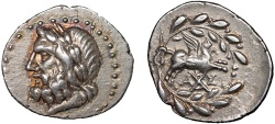 Ancient Coins - Corinthia. Corinth under the Achaean League: AR hemidrachm – Zeus/Pegasus – Attractive toning