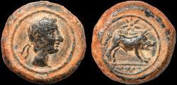 Ancient Coins - Spain. Castulo: AE quadrans – Male head/Boar