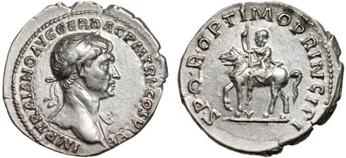 Ancient Coins - Trajan AR denarius – Equestrian statue – Superior style for this issue