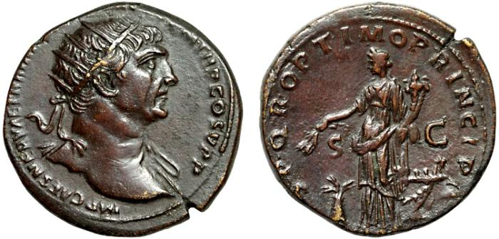 Ancient Coins - Trajan AE dupondius – Abundantia – Attractive rich red patina, strong portrait