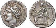 Ancient Coins - Bruttium, Terina: AR 1/3 stater – Nymph/Nike on plinth – Fine style