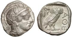 Ancient Coins - Attica, Athens: AR tetradrachm – Athena/Owl – EF, nearly full crest and reverse incuse area