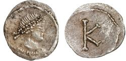 "Ancient Coins - ""Barbarous"" AR imitation of a Constantine era 1/3 siliqua – Female bust/Large K"