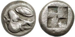 Ancient Coins - Lesbos. uncertain mint: billon obol – Boar's head and eye/Quadripartite incuse – Rare; excellent example