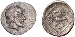 Ancient Coins - Ionia. Magnesia ad Maeandrum AR tetartemorion under Archepolis son of Themistokles – Male head/Eagle and monogram – Rare and historically important; excellent example of its type