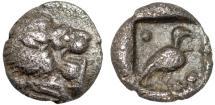 Ancient Coins - Caria, Mylasa: AR tetartemorion – Lion forepart/Bird
