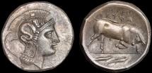 Ancient Coins - Lucania. Thurium: AR distater – Athena/Bull – EF