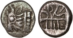 Ancient Coins - Caria, uncertain mint: AR tetrobol – Bull/Incuse with intersecting lines – Rare