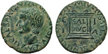 Ancient Coins - Tiberius AE As Illici (aka Elche, also as Alicante) Spain – Altar