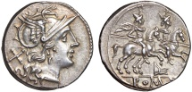 Anonymous AR denarius – Roma/Dioscuri – Pleasant toning