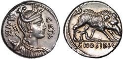 Ancient Coins - C. Hosidius C.f. Geta AR denarius – Diana/Calydonian Boar – EF; rare variety with no spear