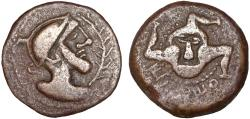 Ancient Coins - Celtiberian Spain. Iliberri (Granada): AE As – Helmeted male head/Triskeles with face – Excellent preservation for type
